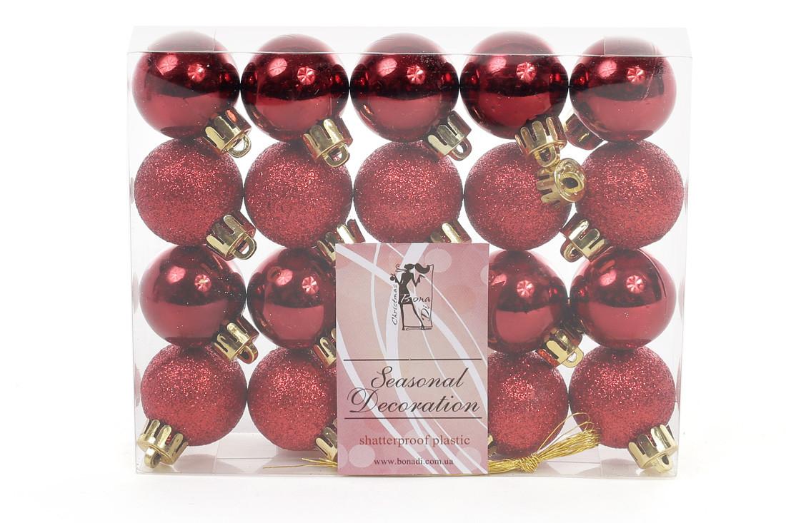 Набор елочных шаров 3см, цвет - бордо, 20 шт: глянец, глитер - по 10 шт 147-588