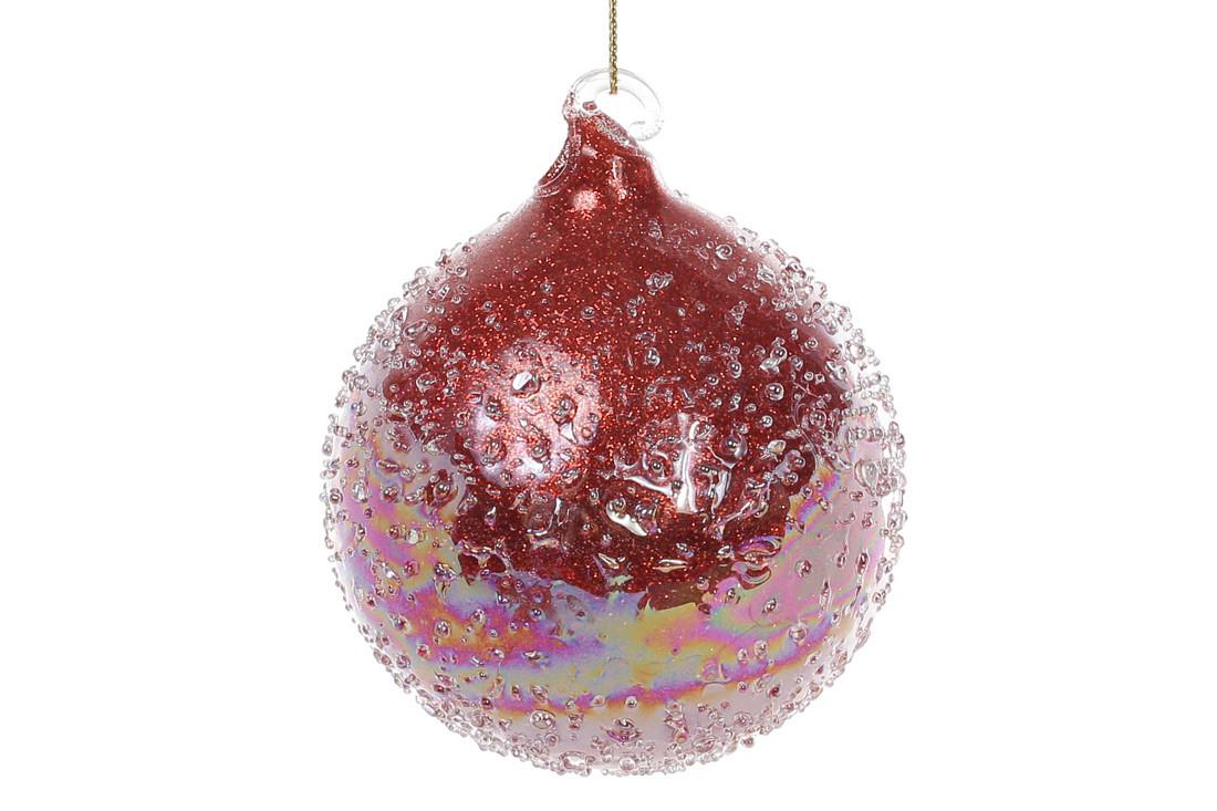 """Елочный шар 8см с покрытием """"лёд"""", цвет - бургунди 172-271"""