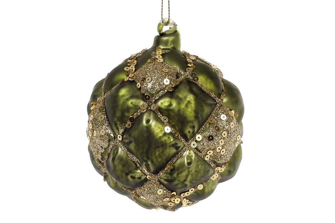 Елочный шар 8см, цвет - темно-зеленый с золотом, стекло, в упаковке 6шт. (172-249)