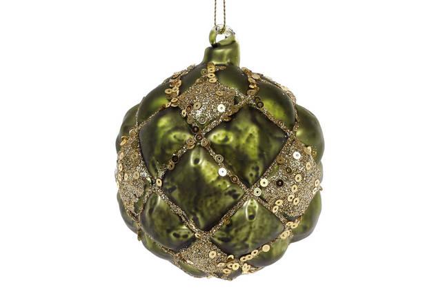 Елочный шар 8см, цвет - темно-зеленый с золотом, стекло, в упаковке 6шт. (172-249), фото 2