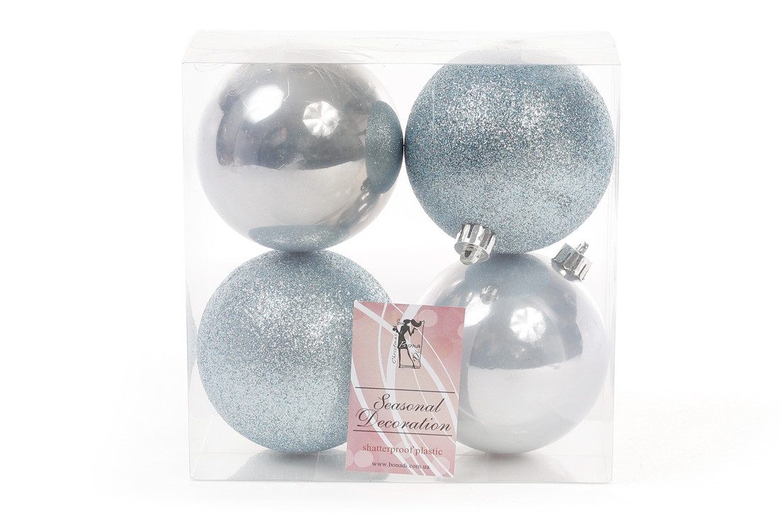 Набор елочных шаров 8см, цвет - голубой, 4 шт: 2 шт - глитер, 2 шт - перламутр, пластик (147-281)