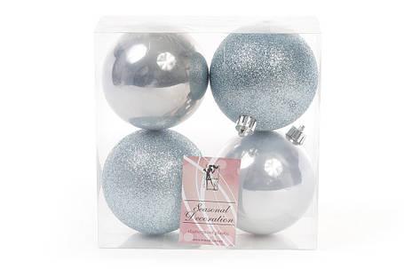 Набор елочных шаров 8см, цвет - голубой, 4 шт: 2 шт - глитер, 2 шт - перламутр, пластик (147-281), фото 2