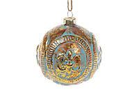 Елочный шар 8см Королевская лилия, цвет - мята с золотом , стекло, в упаковке 6шт. (172-258)