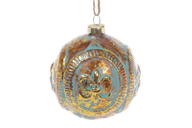 Елочный шар 8см Королевская лилия, цвет - мята с золотом , стекло, в упаковке 6шт. (172-258), фото 2