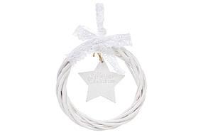 Новогодний подвесной декор из ивы Венок 15см Звезда 729-408