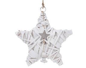 Новогодний подвесной декор из ивы Звезда 20см с подвеской 729-411