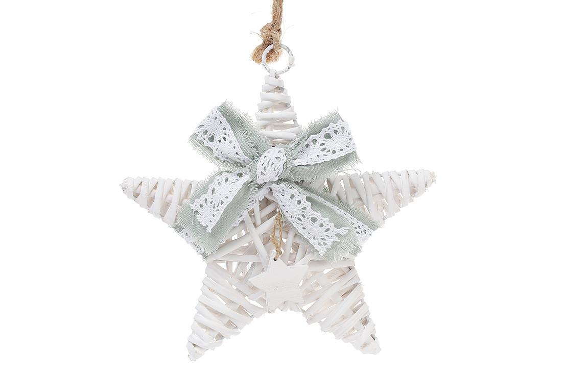 Новогодний подвесной декор из ивы Звезда 20см с мятным бантом 729-402