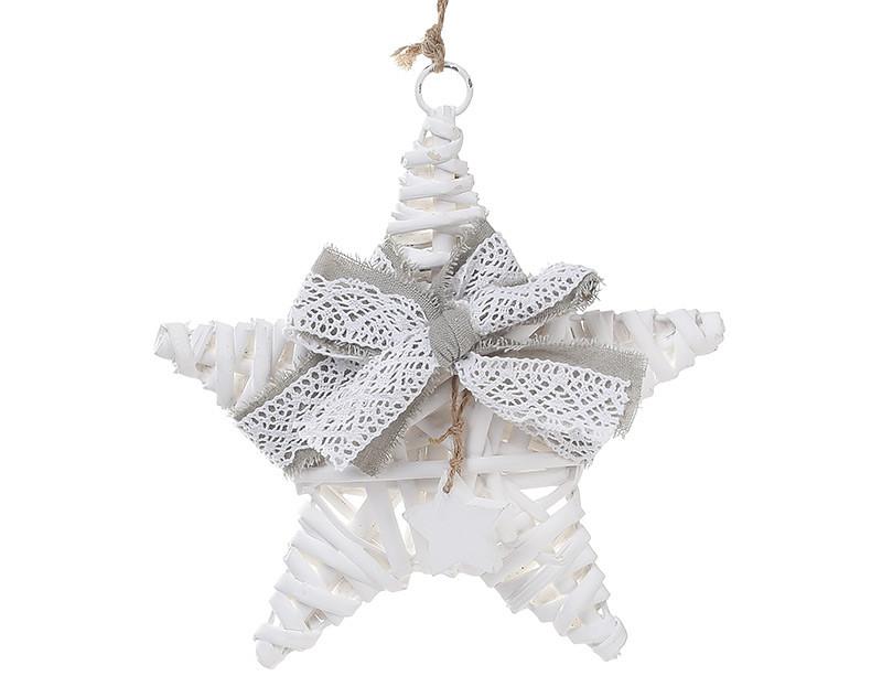 Новогодний подвесной декор из ивы Звезда 20см с серым бантом 729-401