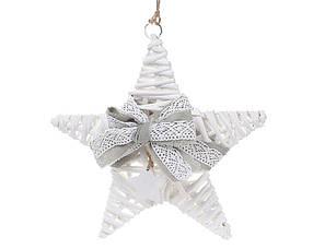 Новогодний подвесной декор из ивы Звезда 25см с серым бантом 729-419