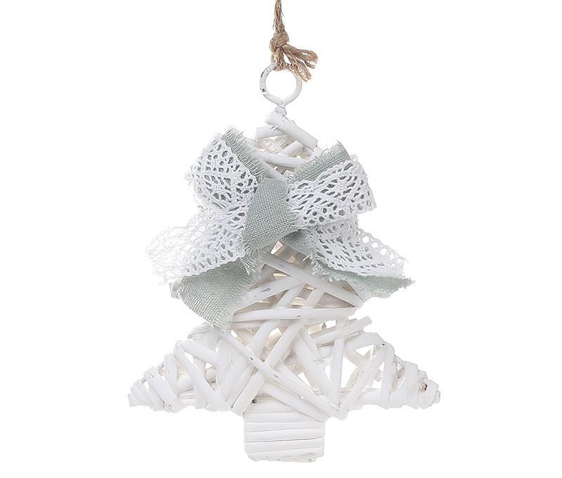 Новогодний подвесной декор из ивы Елка 15см с мятным бантом 729-415