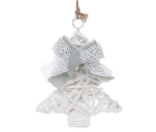 Новогодний подвесной декор из ивы Елка 15см с мятным бантом 729-415, фото 2