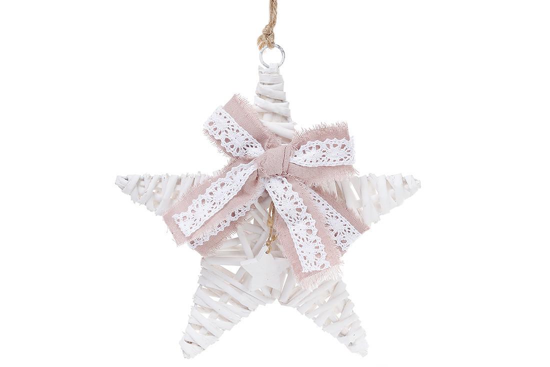 Новогодний подвесной декор из ивы Звезда 25см с розовым бантом 729-420