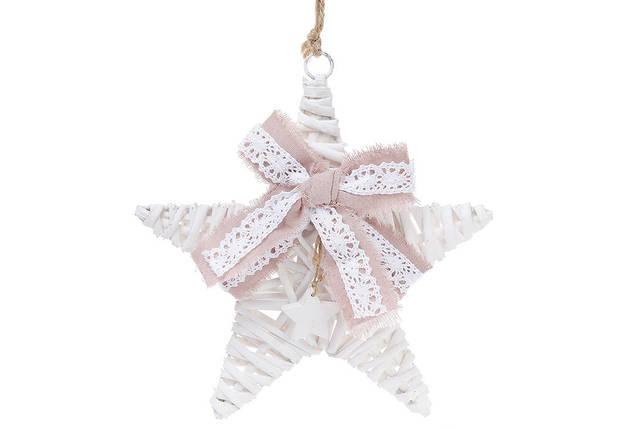 Новогодний подвесной декор из ивы Звезда 25см с розовым бантом 729-420, фото 2