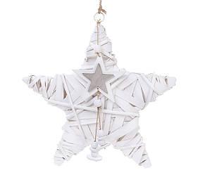 Новогодний подвесной декор из ивы Звезда 30см с подвеской 729-421