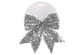 Декоративный бант 17см, цвет - серебро 787-101