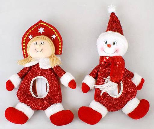 Мешочек для конфет Снеговик, Снегурочка, 28см SN28-12, фото 2
