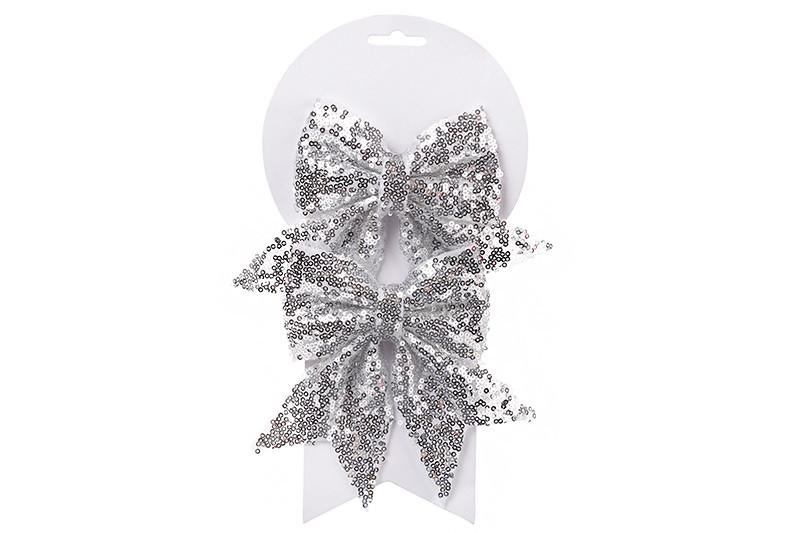 Набор (2шт) декоративных бантов 13см, цвет - серебро 787-100