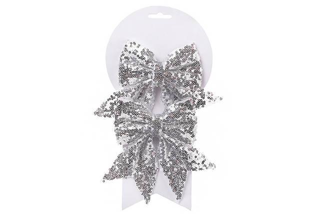 Набор (2шт) декоративных бантов 13см, цвет - серебро 787-100, фото 2