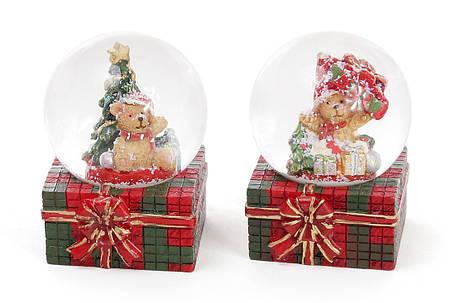 Декоративный водяной шар 6.3см Мишка на подарке 2 вида (559-188), фото 2