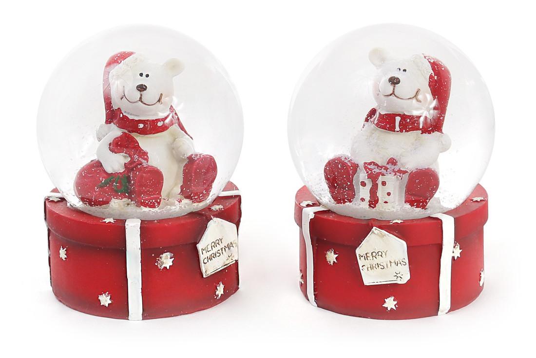Декоративный водяной шар 9см Мишка на подарке, 2 вида, в упаковке 6шт. (559-197)