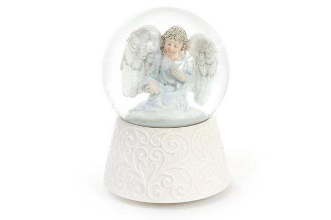 Декоративный водяной шар 14.8см Ангел с рождественской музыкой на заводном механизме (559-201), фото 2