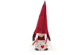 Новогодняя декоративная кукла Гном 34см, цвет - красный 711-224
