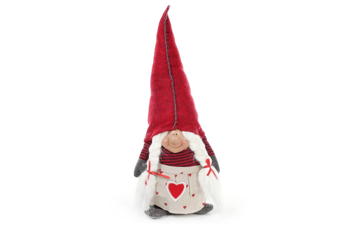 Новогодняя декоративная кукла Гном 40см, цвет - красный , ткань, 1шт. (711-225)