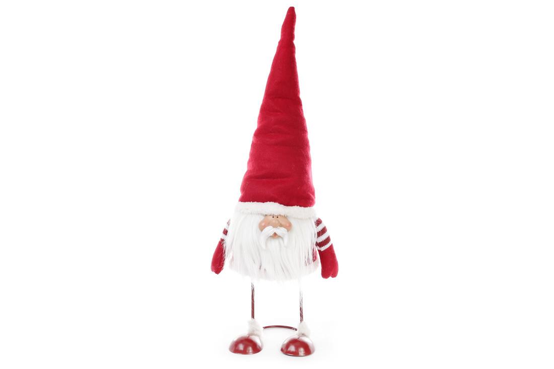 Новогодняя декоративная кукла Гном 56см, цвет - красный, ткань, 1шт. (711-227)