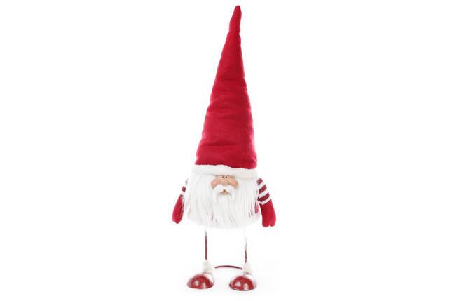 Новогодняя декоративная кукла Гном 56см, цвет - красный, ткань, 1шт. (711-227), фото 2