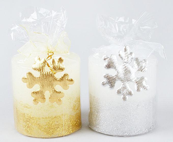 Свеча с декором Снежинка 7см, 2 вида 310-114