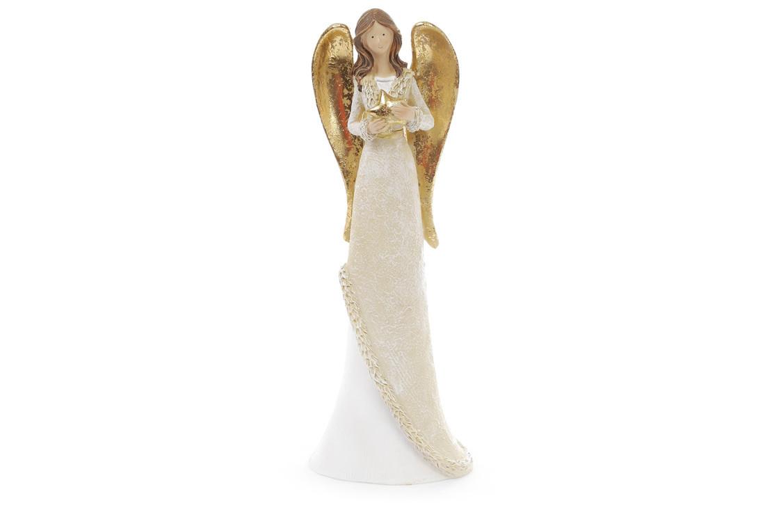 Декоративная фигурка Ангел 30см, цвет - белый с золотом 823-209