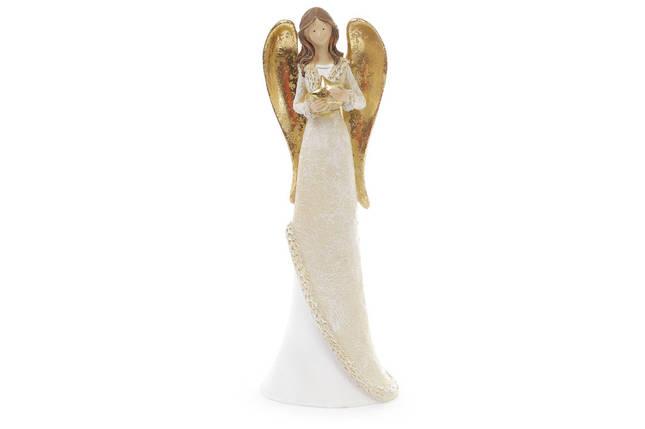 Декоративная фигурка Ангел 30см, цвет - белый с золотом 823-209, фото 2