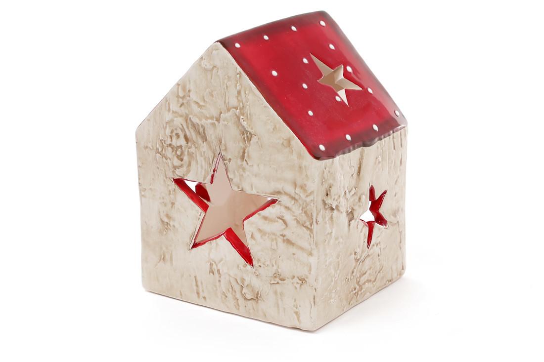 Декоративный керамический домик-подсвечник Звезда 11.5см 795-309
