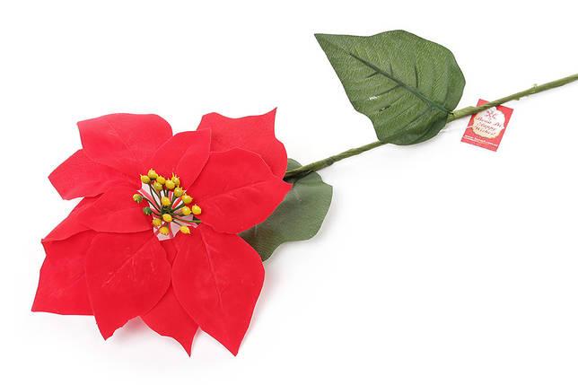 Цветок декоративный 65см Пуансеттия красная 704-100, фото 2