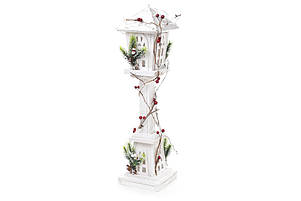 Декоративный деревянный фонарь с подсветкой (10 LED-ламп) 60см, цвет - белый NY12-482, фото 2