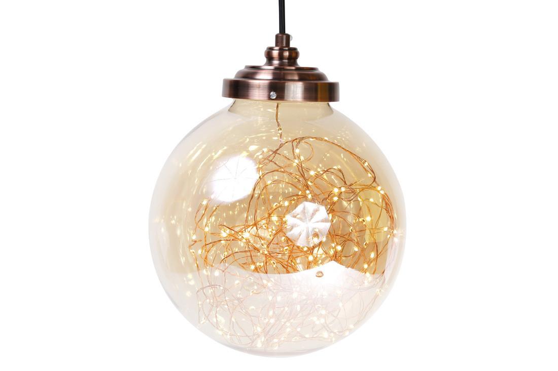 Декоративный шар 23см с LED-гирляндой внутри (300 мини-LED, цвет - тёплый белый, постоянное свечение) 830-319
