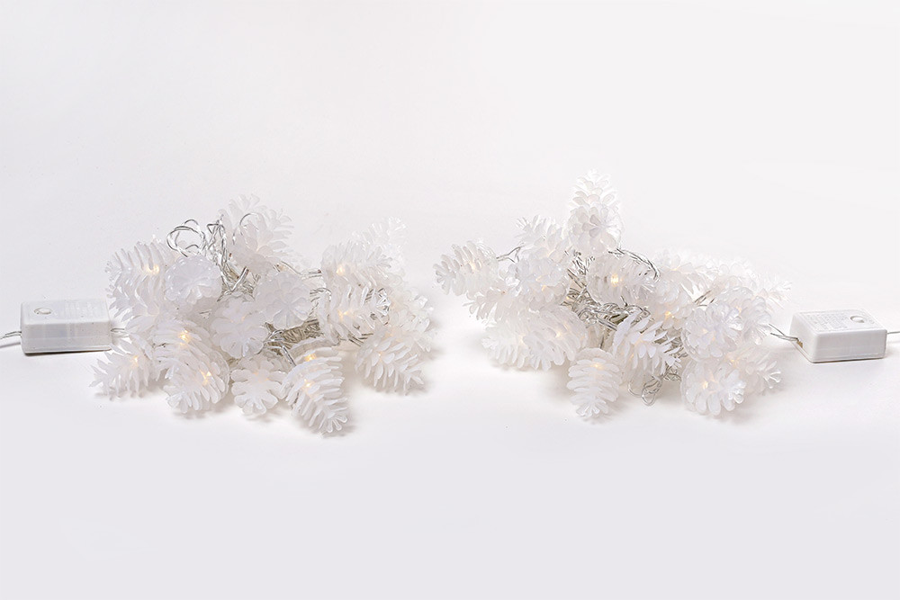 Гирлянда 2м, 30 LED (цвет- тёплый белый и холодный белый), 8 режимов, с украшением на лампочку Шишка (3*4см) 770-250