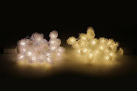 Гирлянда 2м, 30 LED (цвет- тёплый белый и холодный белый), 8 режимов, с украшением на лампочку Шишка (3*4см) 770-250, фото 2