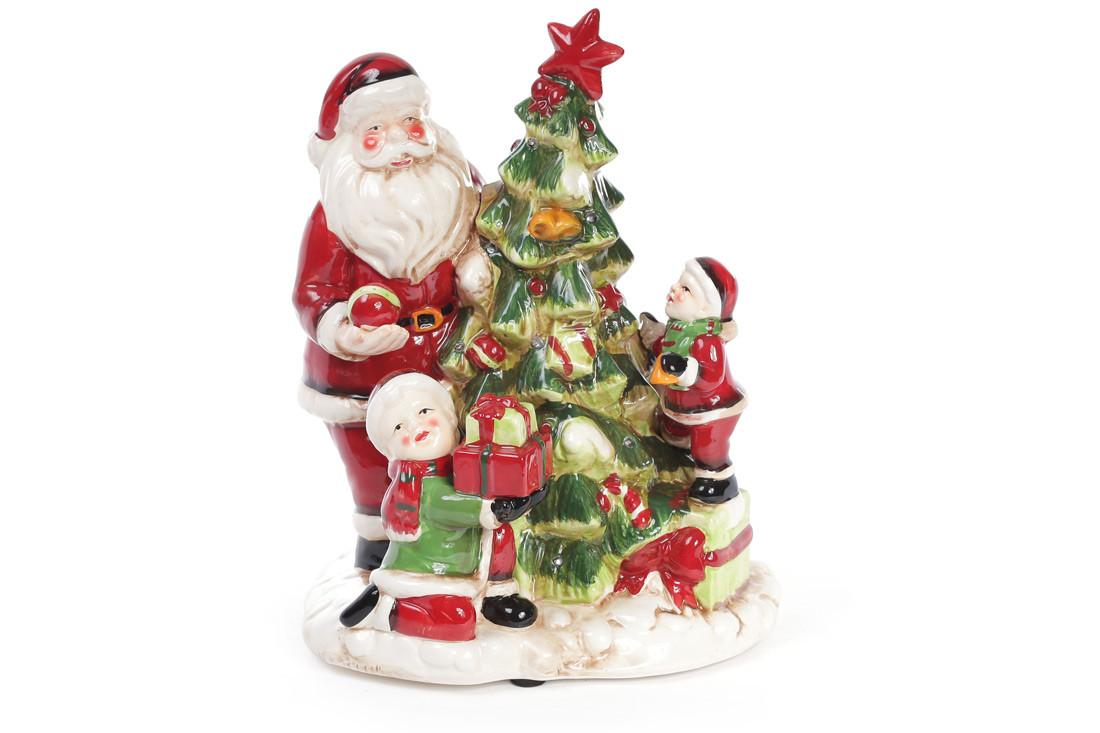 Декоративная музыкальная статуэтка Санта у елки с LED-подсветкой 28см (2 режима - подсветка и подсветка с музыкой) 827-415