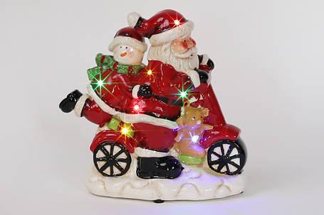 Декоративная музыкальная статуэтка Санта на мопеде с LED-подсветкой 19см (2 режима - подсветка и подсветка с музыкой) 827-409, фото 2
