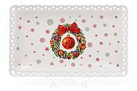 """Блюдо фарфоровое """"Рождественский ажур"""", 25см 498-215"""