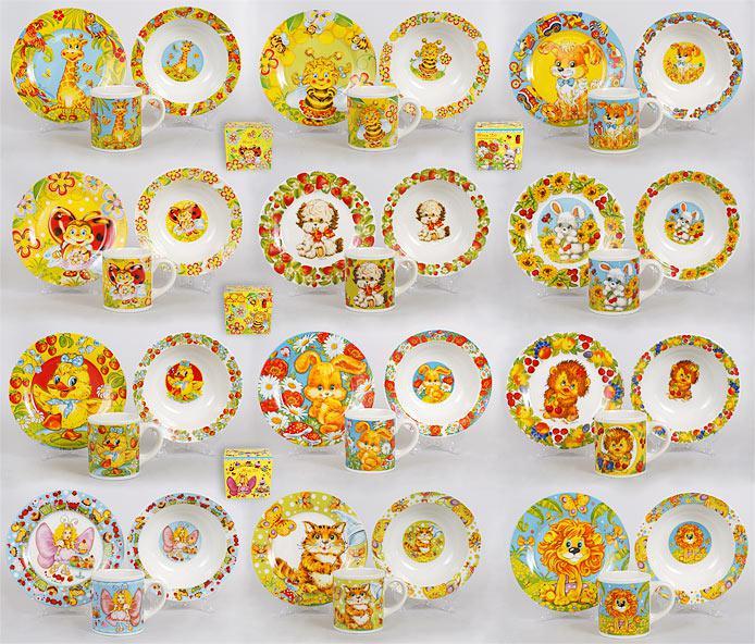 Детский набор: чашка, тарелка, глубокая тарелка, 12 видов CS170