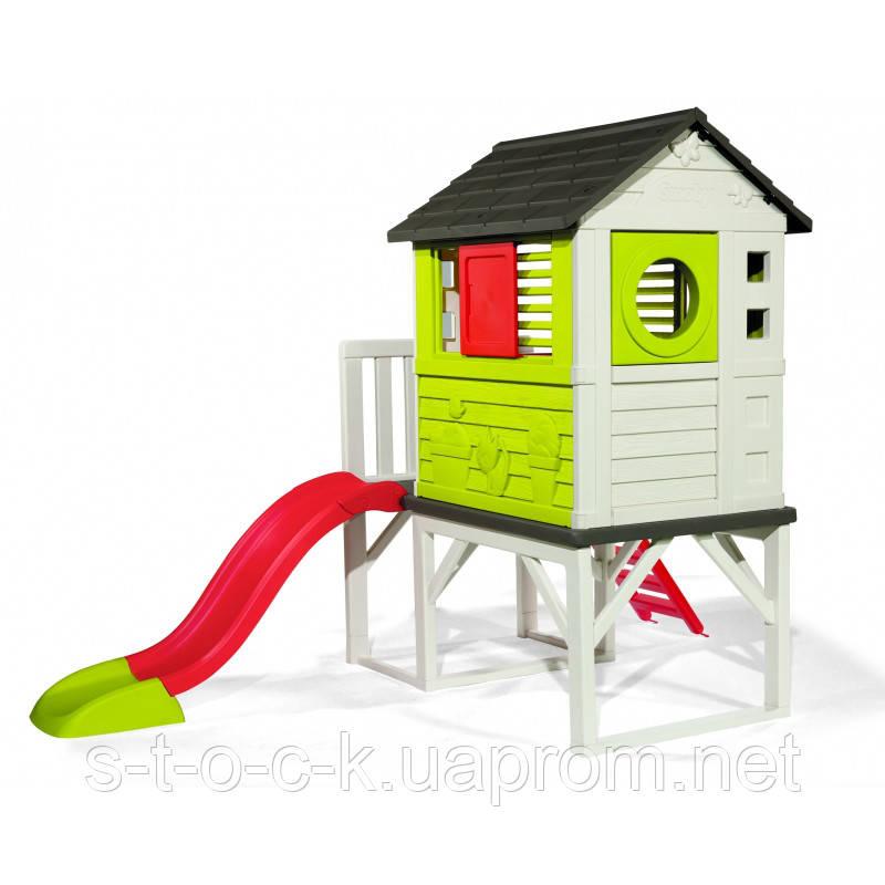 Детский игровой домик на платформе (сваях) Smoby с горкой 810800