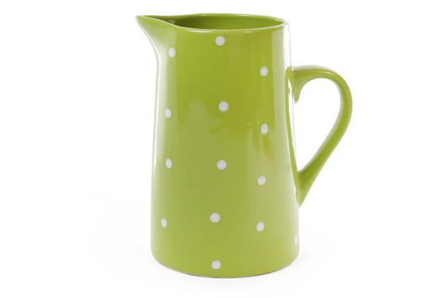 Кувшин керамический 1000мл, цвет - зелёный в белый горошек 593-203, фото 2