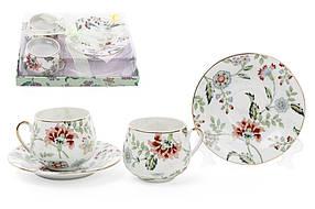 Набор кофейный фарфоровый Альпийский сад: 2 чашки 125мл, 2 блюдца XX912-F