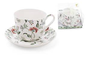 Чайная пара фарфоровая Альпийский сад, чашка 450мл XX957-F