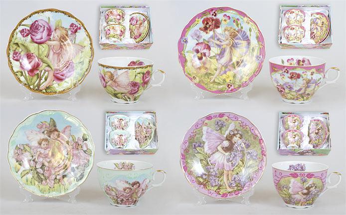Чайный набор 4 предмета: 2 чашки фарфоровые 250мл с блюдцем, 4 вида XX707