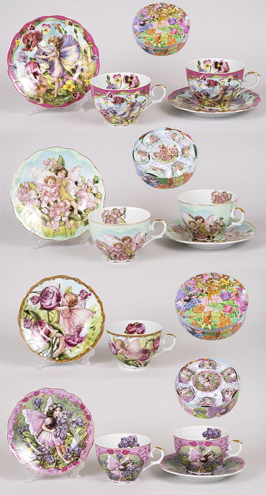 Чайный набор 12 предметов: 6 чашек фарфоровая 250мл с блюдцем, 4 вида XX157