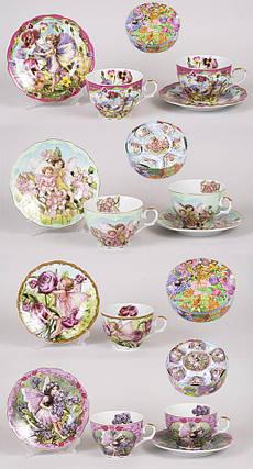 Чайный набор 12 предметов: 6 чашек фарфоровая 250мл с блюдцем, 4 вида XX157, фото 2