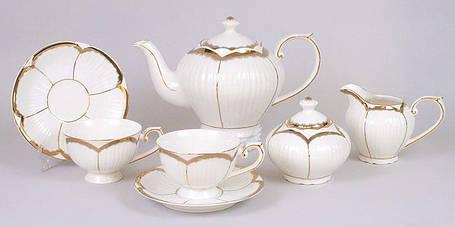 Набор 15 предметов: 6 чашек + 6 блюдец + чайник + молочник + сахарница 222-520, фото 2